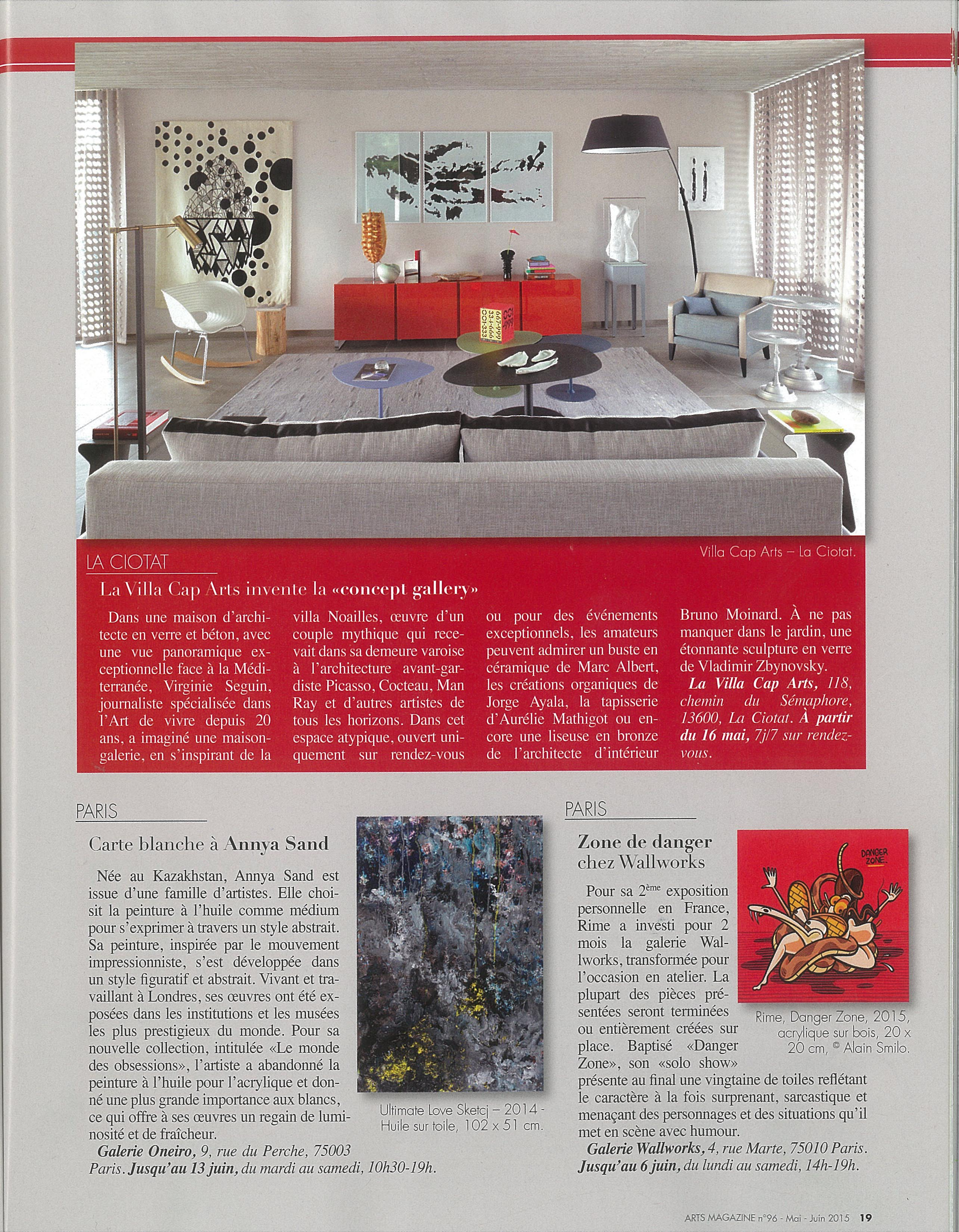 Annya Sand - Contemporary Artist featured in Arts Magazine (France)